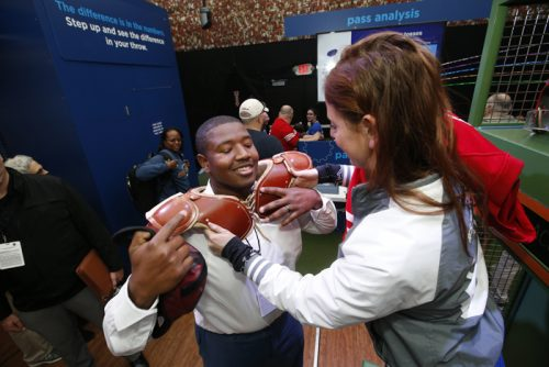 NFL player Kelvin Beachum Jr. visits the Chevron STEM Zone in Super Bowl City on Thursday, Feb. 4, 2016 in San Francisco. The Chevron STEM Zone is an interactive exhibit that brings the science behind football to life for fans in Super Bowl City. (Tony Avelar/AP Images for Chevron)